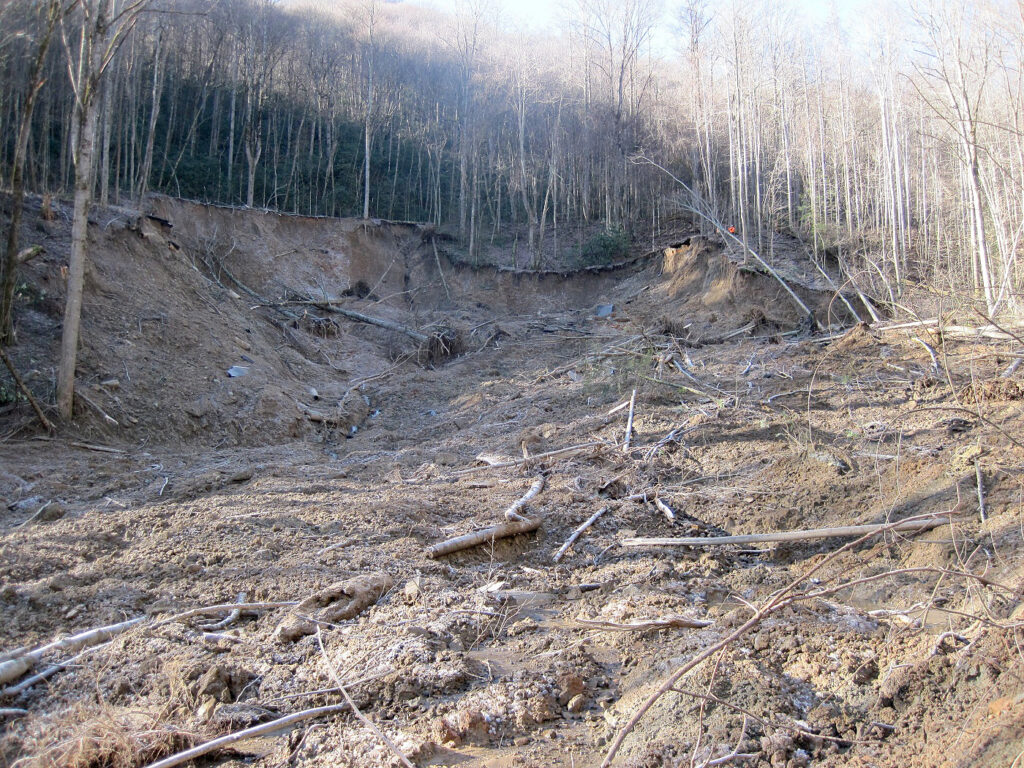 An upslope view of the damage cause by the Jan. 16 landslide to Newfound Gap Road in Great Smoky Mountains National Park. (NPS photo)