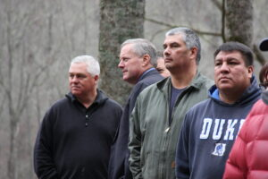 Tribal Council representatives toured the site with Congressman Meadows (2nd from left) on Monday.  Shown (left-right) are Tribal Council Chairman Jim Owle, Congressman Meadows, Yellowhill Rep. B. Ensley and YellowhillRep. David Wolfe. (LYNNE HARLAN/EBCI Public Relations)