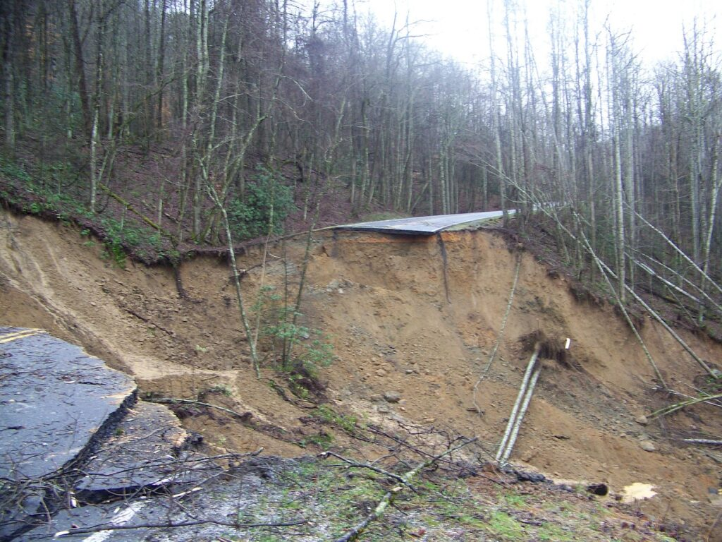 A landslide on Wednesday, Jan. 16 undercut a portion of Newfound Gap Road in the Great Smoky Mountains National Park.  (NPS photos)