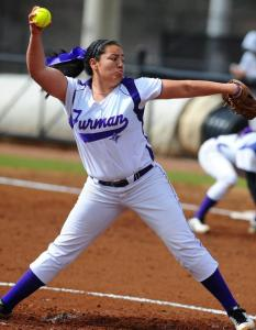 EBCI tribal member Shelby Parker was named SoCon Pitcher of the Week.  (Furman Athletics photo)