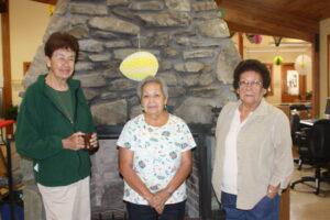 EBCI tribal elders Maria Smith, Pat Hornbuckle and Edgarita Smith are shown at Tsali Manor on Tuesday, April 30.  (JEAN JONES/One Feather)
