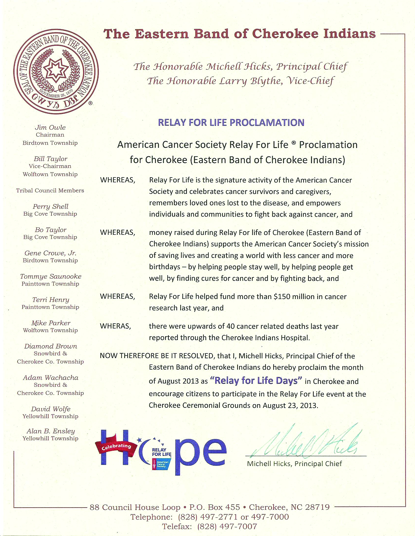 Relay for Life Proclamation