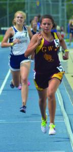 Cherokee's Kendall Toineeta runs hard in the girls 800M run en route to a third place finish.