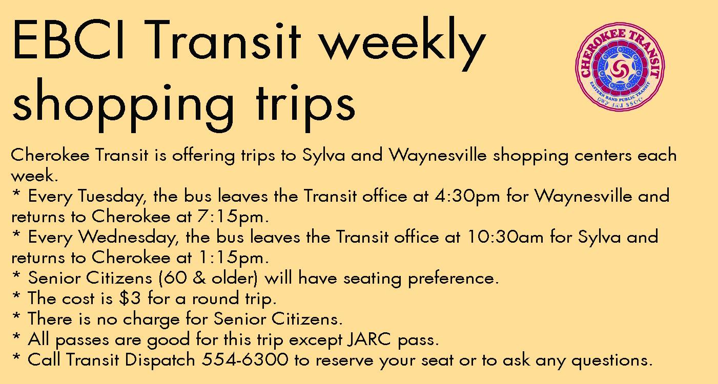 EBCI Transit weekly shopping trips psa