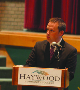 Jason Lambert, EBCI Commerce Division director, speaks at the 2nd Annual Rockslide Conference on the Economic Impacts of the Hwy 441 Landslide held at Haywood Community College on Wednesday, June 5.  (J.D. ARCH/Commerce Intern)