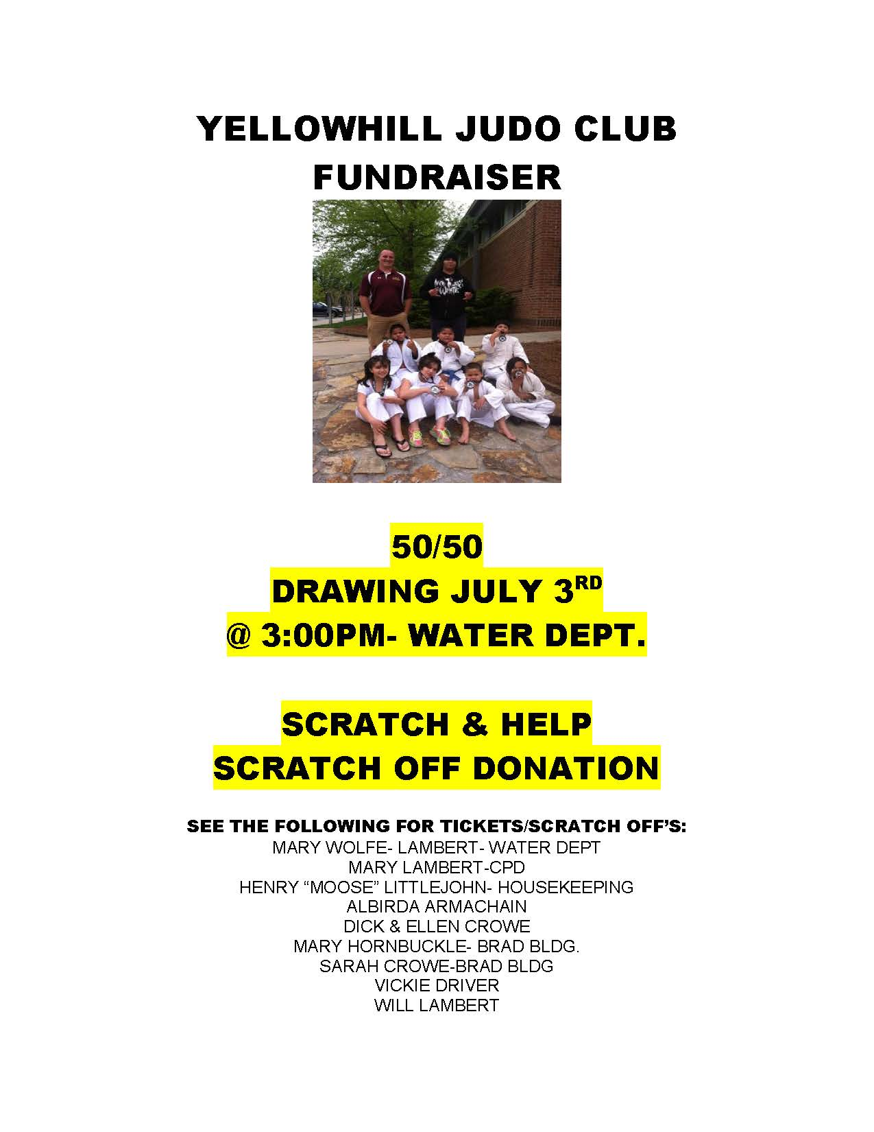 SCRATCH OFF AND 50 50 FUNDRAISER 2013
