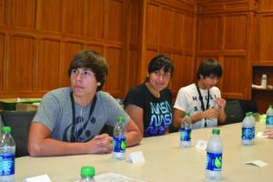 Nicodemus Bushyead (CHS senior), Taloa Berg (Choctaw Central High graduate/Vanderbilt University freshman) and Xan Sandongei (CHS junior) are shown at the Aspirnaut Program being held this summer at Vanderbilt.  (USET photo)