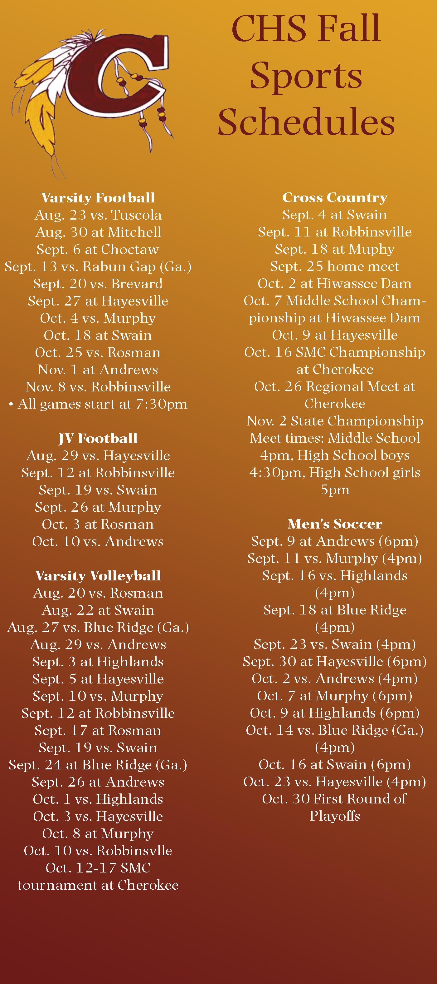 CHS sports schedules