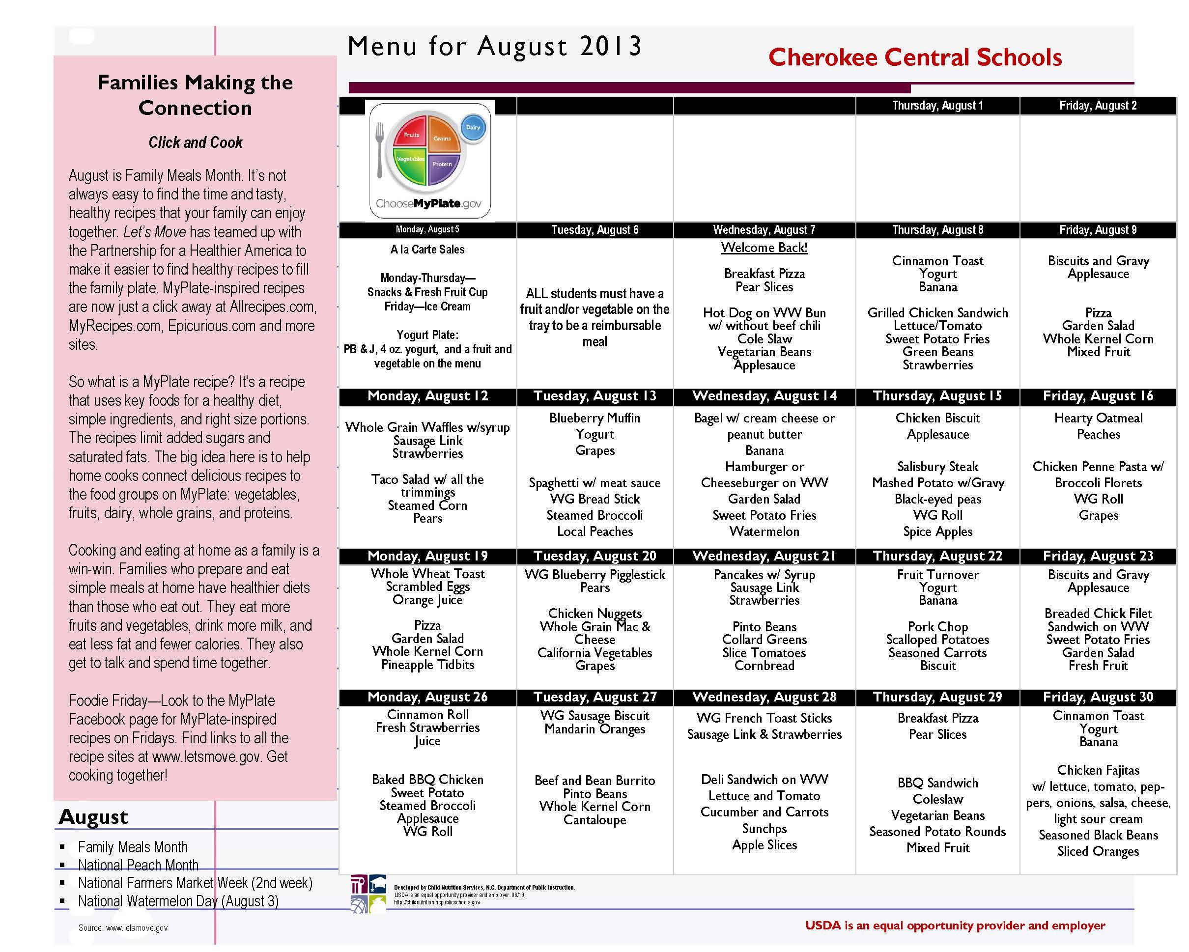 CCS August 2013 Menu
