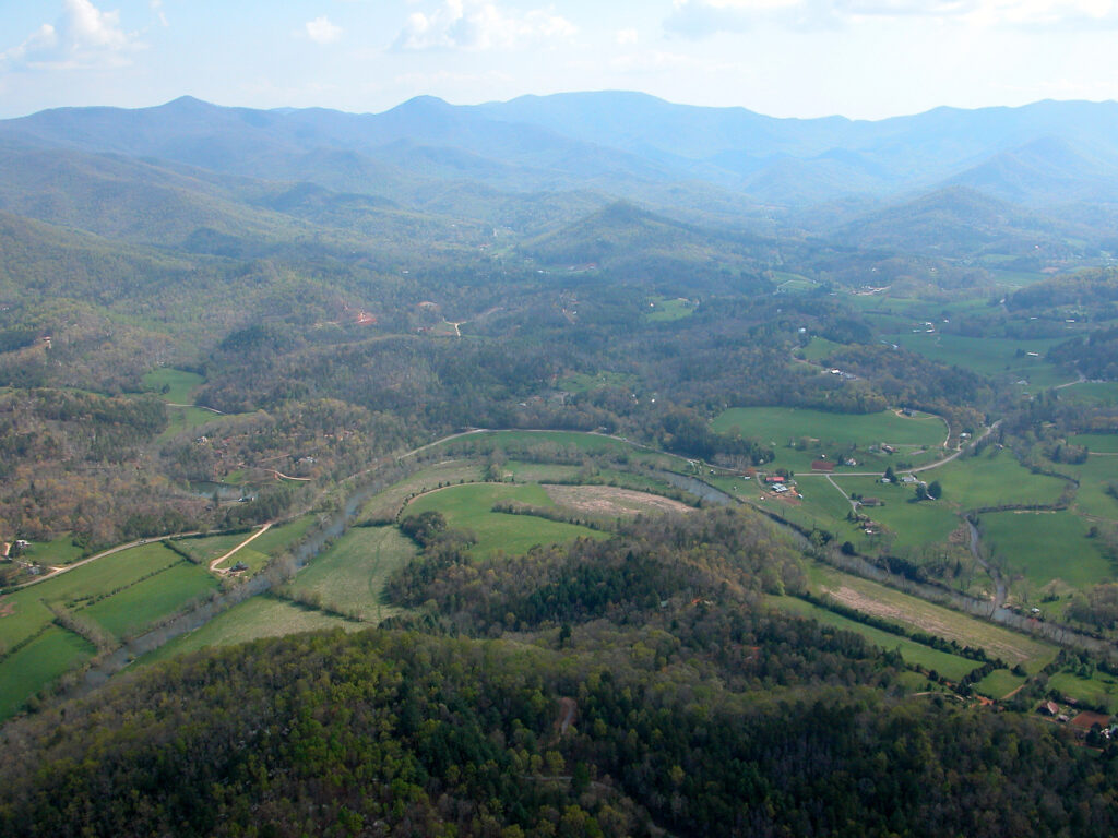 An aerial view of the Cowee Mound and Little Tennessee River from Hall Mountain. (Photo by Ralph Preston)