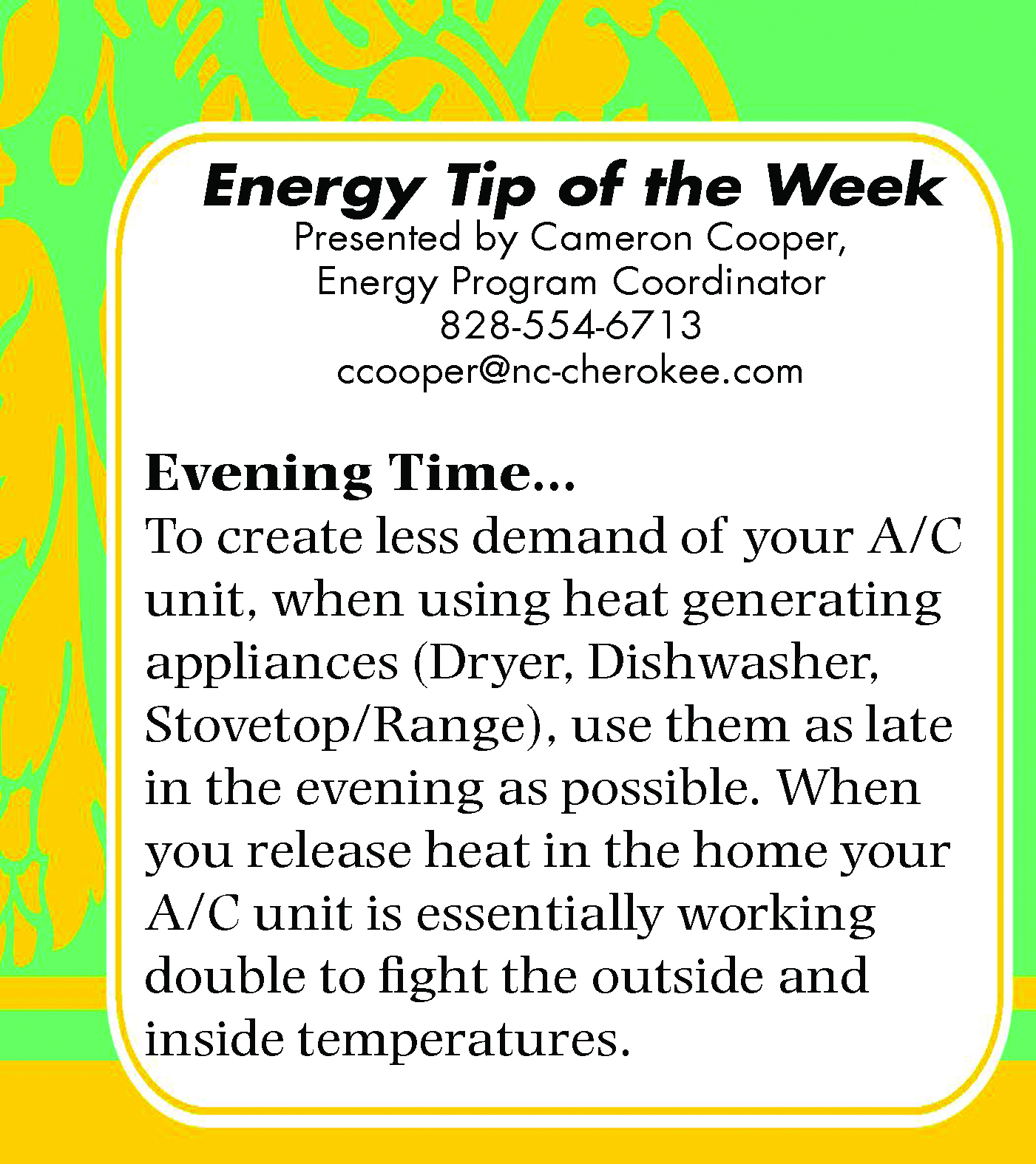 Energy Tip of the Week