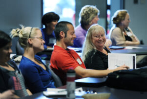 Susan Ford, Sebastian Brun and Evelyn Graning of the Cherokee Central School System were among more than 80 educators from across Western North Carolina who gathered for a conference convened by Western Carolina University to develop strategies to improve the mathematical skills of the region's graduates.  (WCU photo)