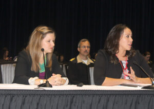 Dee Sabattus (right), USET Tribal Health Program Support director, and Caitrin McCarron Shuy, National Indian Health Board (NIHB) congressional relations manager, give a presentation on the Special Diabetes Program for Indians (SDPI).