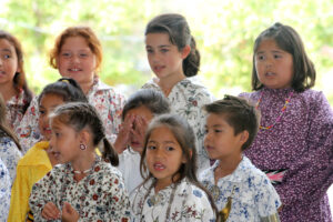Members of the New Kituwah Academy Choir sing a song in the Cherokee language.