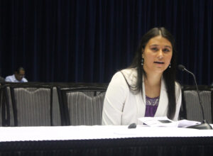 Sheena Kanott, Cherokee Choices manager, gives a presentation on her program at the USET Annual Meeting on Wednesday, Oct. 30 at Harrah's Cherokee Resort Event Center. (SCOTT MCKIE B.P./One Feather photos)
