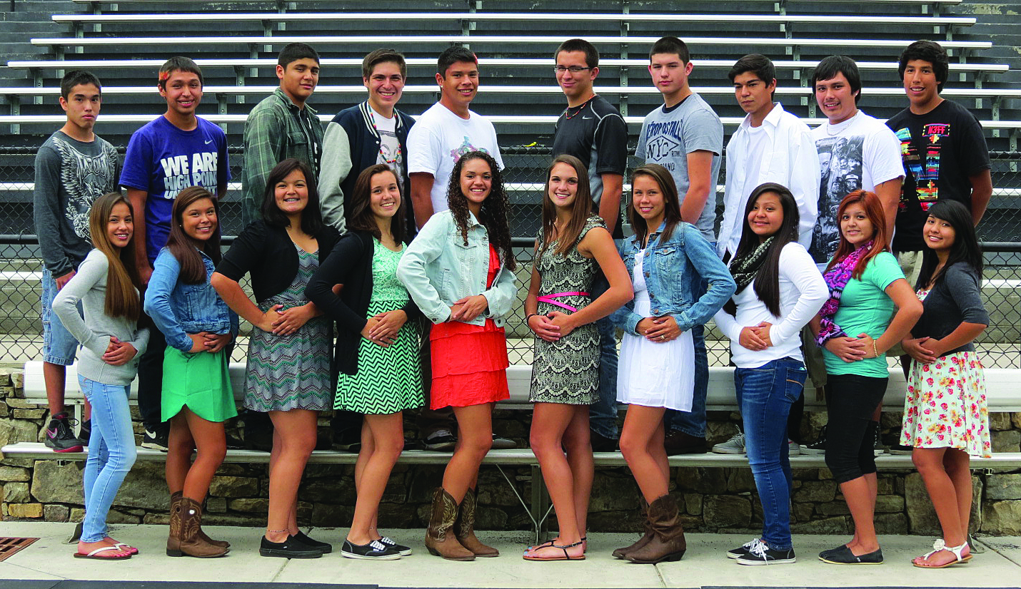 The Cherokee Braves football team has selected the following ladies as members of the 2013 Homecoming Court.  The young ladies are pictured with escorts selected.  Shown (left-right) front row -   Holly Meuse, 12th grade;  Bree Stamper, 10th grade; Madison Long, 11th grade; Dre Crowe, 11th grade; Ashlyn Spicer, 12th grade; Avery Mintz, 12th grade; Kendall Toineeta, 11th grade; Taylor Nelson, 9th grade; Larissa Martinez, 12th grade; and Tierra Martinez, 10th grade.  Escorts are pictured (left-right) back row - Steven Meuse, Darius Thompson, Nesta Bradley, Tagan Crowe, Chris Queen, Cain Arch, Trace Lambert, Cole Wildcat, Damion Cline, and Simon Montelongo.    The Homecoming Queen will be crowned at halftime of the Braves game versus the Rosman Tigers on Friday, Oct. 25 at 7:30pm. (CCS photo)