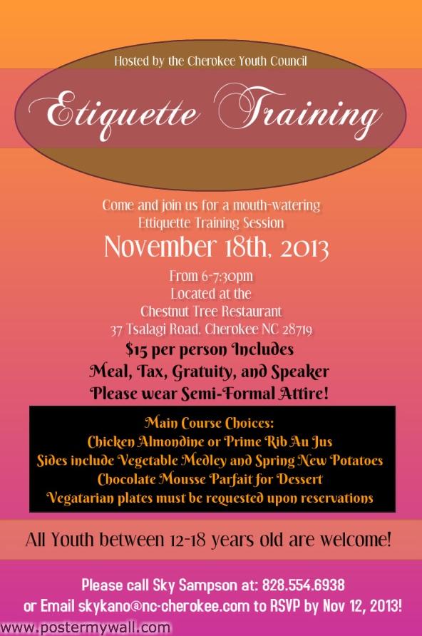 Etiquette Training Flyer 2013