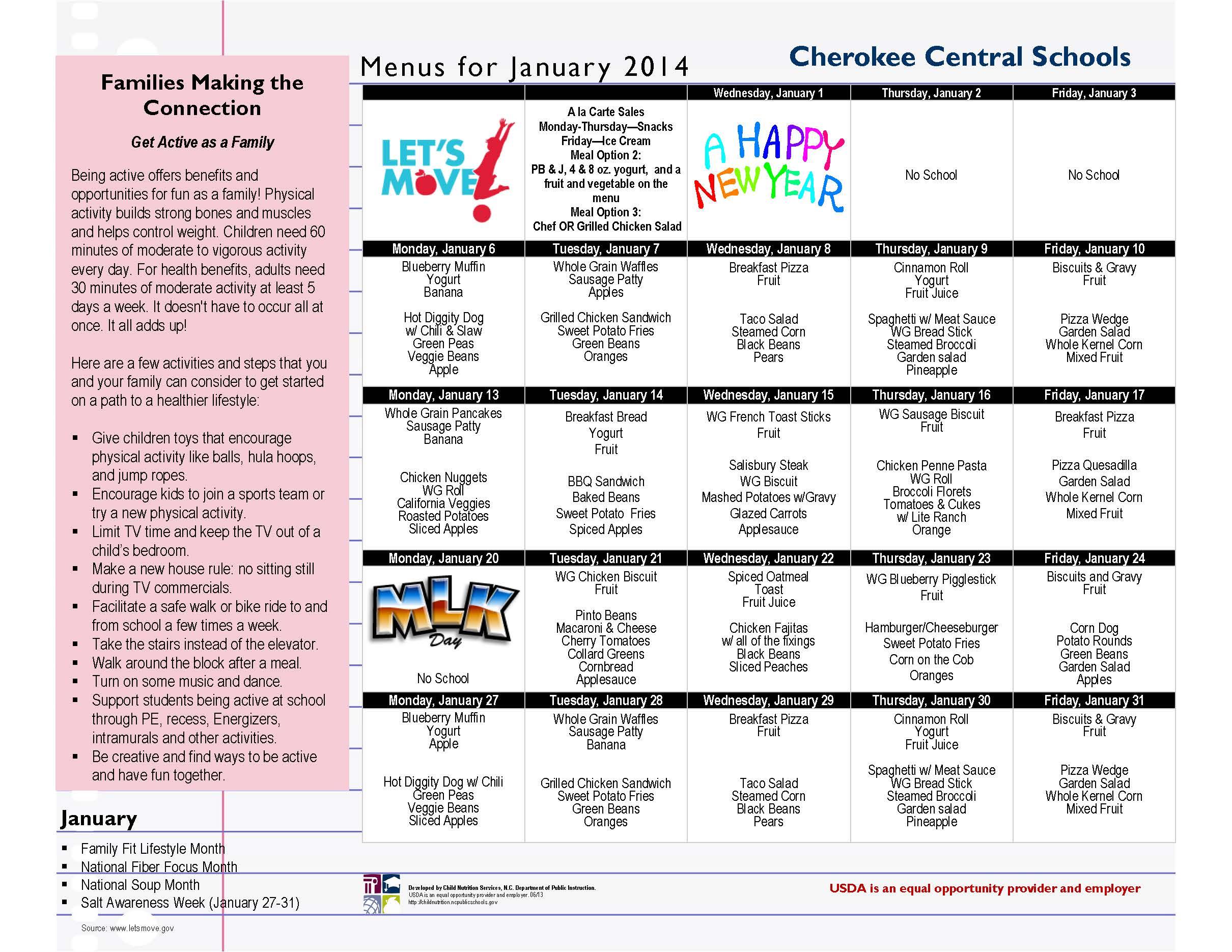 CCS January 2014 Menu