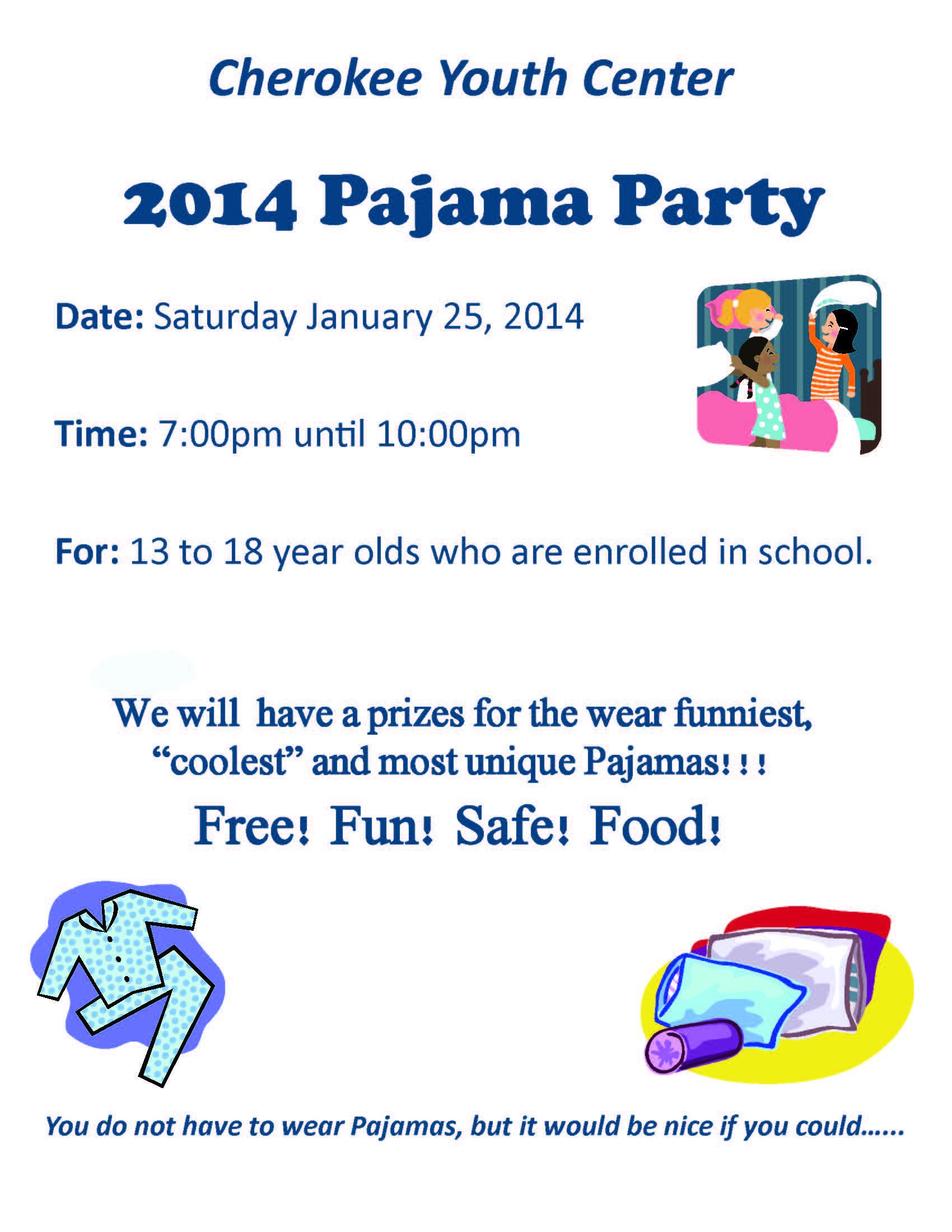 2014 Pajama Party Flyer