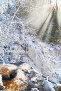 Ice cascades from Soco Falls on Tuesday, Jan. 7.  (Photo by Kristy Maney Herron/EBCI Commerce)