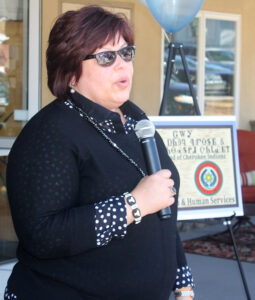Chairperson Terri Henry talks at Tuesday's event.