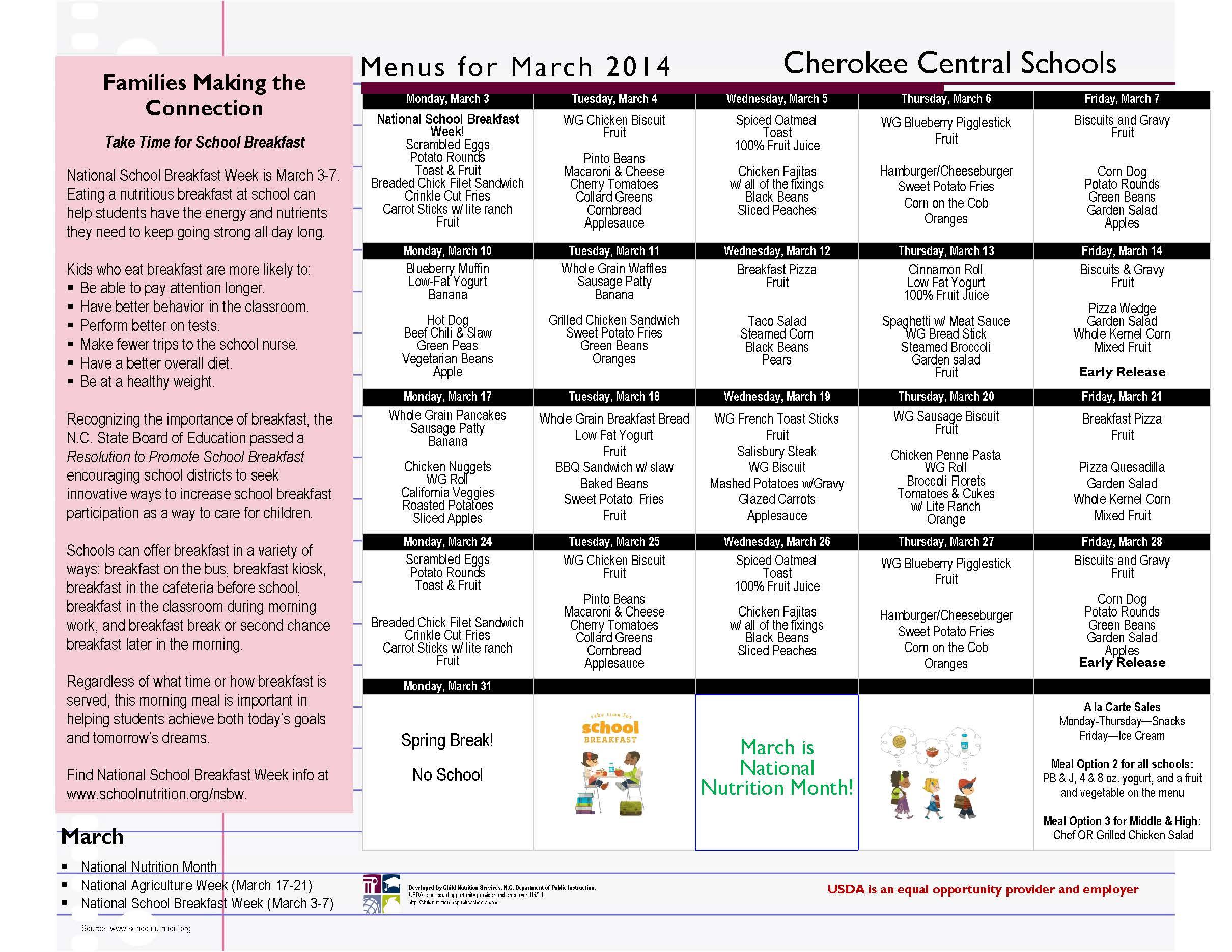 CCS March 2014 Menu