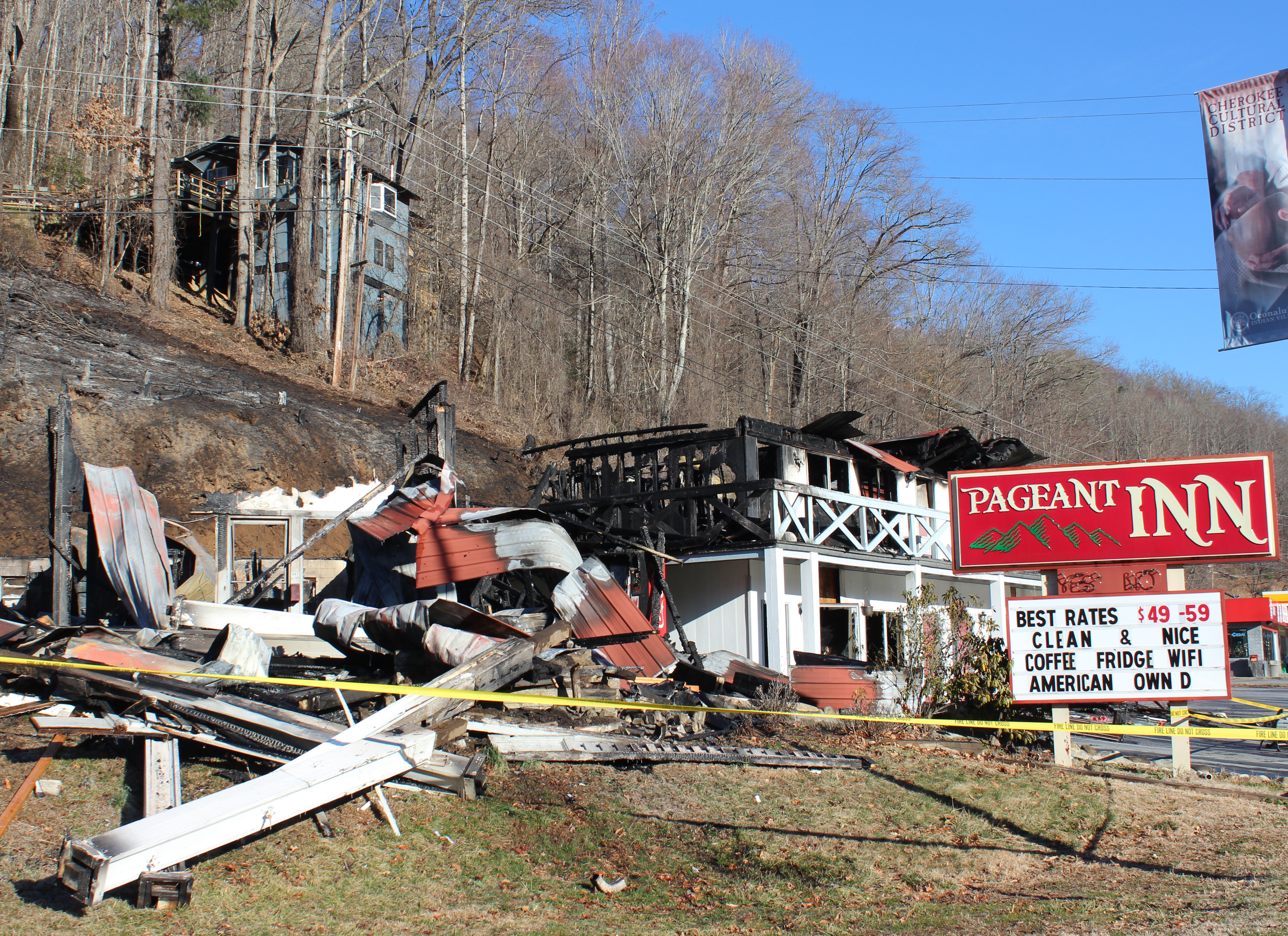 The Pageant Inn was badly damaged in a fire on the night of Thursday, Feb. 27 as shown in this photo taken the morning after.  (AMBLE SMOKER/One Feather)