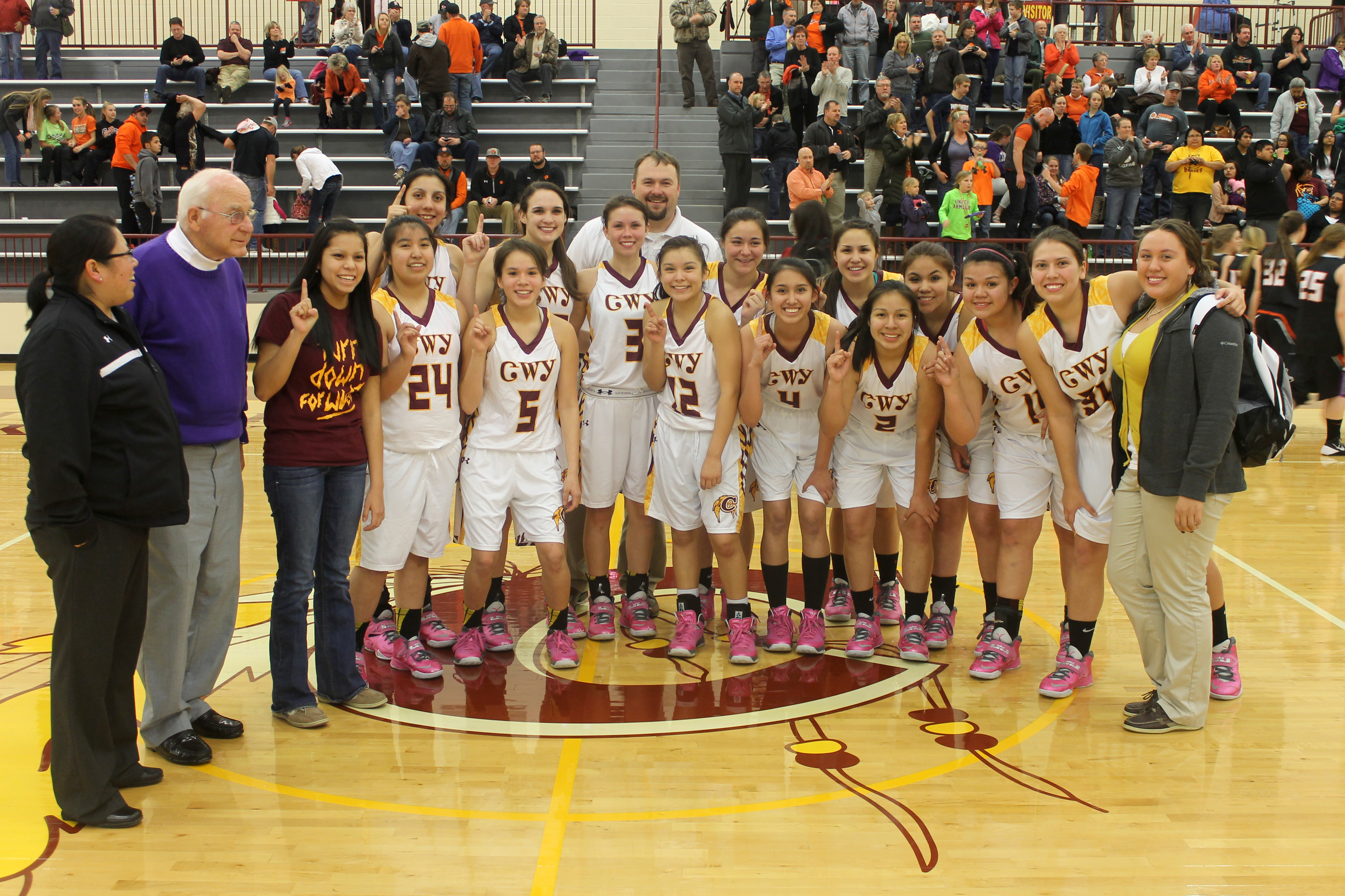 The Lady Braves won their fourth straight Sectional Championship by defeating the Rosman Lady Tigers 82-53 on Friday, Feb. 28 at the Charles George Arena.   (SCOTT MCKIE B.P./One Feather photos)