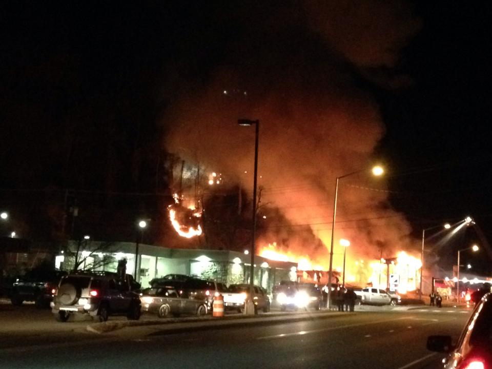 The Pageant Motel is shown burning on the night of Thursday, Feb. 27 in this cell phone shot by Gwynneth Bird.