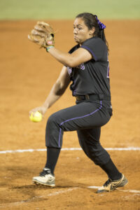 Furman junior Shelby Parker, an EBCI tribal member, was recently named Southern Conference Softball Pitcher of the Week after tossing three complete-game shutouts and her first career no-hitter.  (Photo courtesy of Furman Athletics)