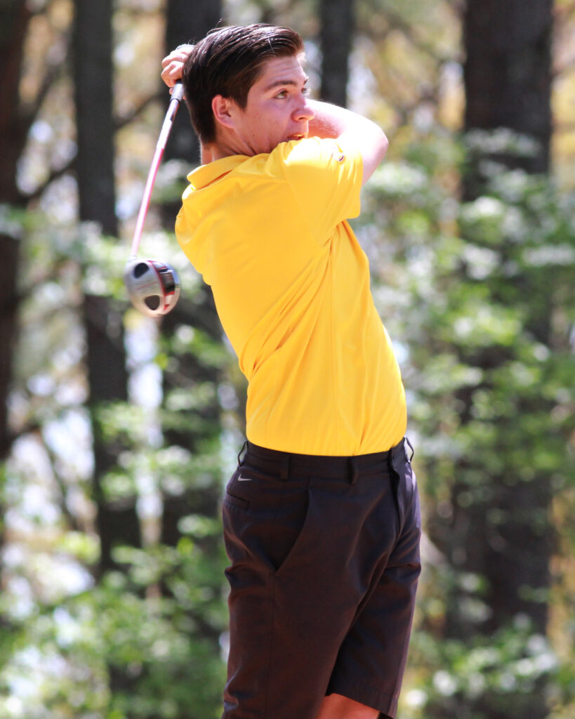Mars Hill recruit Tagan Crowe shot a 174 at the 36-hole event, finishing off his illustrious Smoky Mountain Conference play fifth overall in the individual category at the tournament.   (AMBLE SMOKER/One Feather photos)