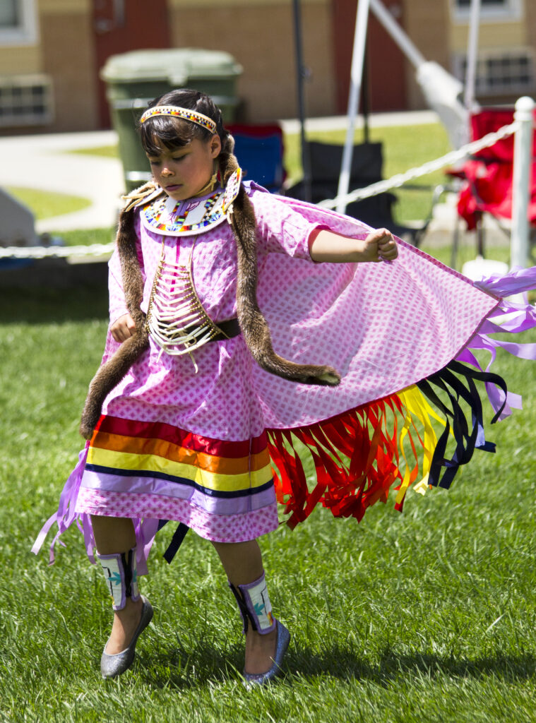 EBCI tribal member Marilyn Swayney dances this past weekend at the Growing Ones Youth Pow Wow at the Cherokee Indian Fairgrounds.  (Photo by Kristy Herron/EBCI Commerce)