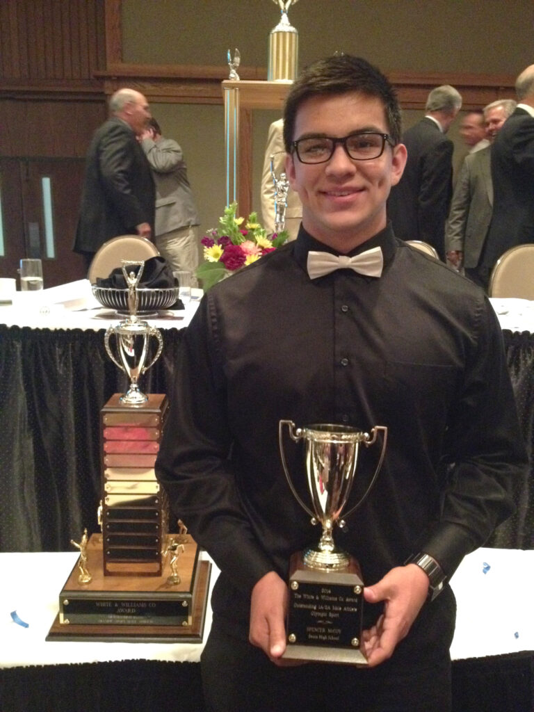 EBCI tribal member Spencer McCoy, a junior at Swain County High School, won the White & Williams Co. Award for the top 1A/2A Male Athlete in an Olympic Sport at the 53rd Annual MAAC (Mountain Amateur Athletic Club) Awards Banquet.  (Photo courtesy of McCoy family)