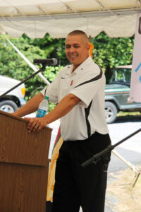 Principal Chief Michell Hicks speaks during Wednesday's event.