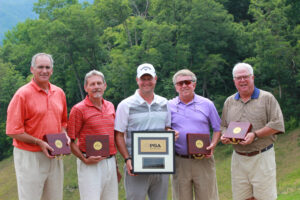 Tournament Winners are shown (left-right): Duane Page, Scott Siewert, Ryan Ott (not on team) Don Stephenson, and Chris Wilmont.  (AMBLE SMOKER/One Feather photos)