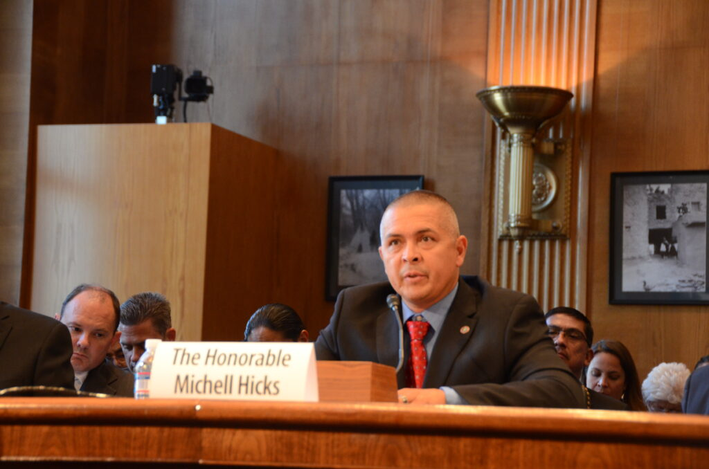 Principal Chief Michell Hicks testifies during a Senate Committee of Indian Affairs hearing on the benefits of Indian Gaming on Thursday, July 24.  (Photo courtesy of Senate Committee of Indian Affairs)