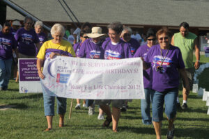 The survivor's lap starts off a past Relay for Life in Cherokee.  (SCOTT MCKIE B.P./One Feather)