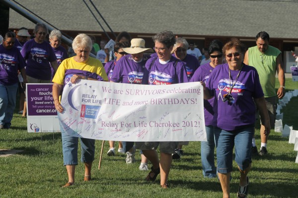 The survivor's lap starts off at a past Relay for Life in Cherokee.  (SCOTT MCKIE B.P./One Feather)