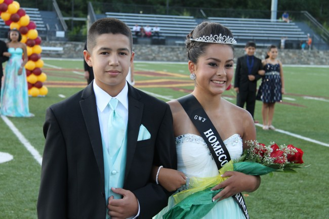 Jade Ledford, a 7th grader at Cherokee Middle School, was named CMS Homecoming Princess.  She is shown escorted by Caden Pheasant.