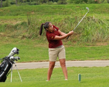 Cherokee junior, Tysha Sampson, carded a 94 to lead the Lady Braves against Highlands on Thursday Sept. 25.  (AMBLE SMOKER/One Feather)