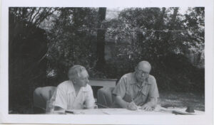 Harvey Broome, left, and Howard Zahniser working on one of the 17 drafts of the Wilderness Act. (NPS photos)