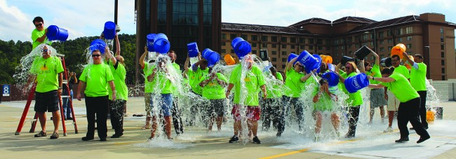 Fifty Harrah's Cherokee Casino Resort employees donated money and participated in the ALS Ice Bucket Challenge this month. Along with the Ducky Dunk Challenge, Harrah's Cherokee employees raised a total of $5,000 for the ALS Association throughout the month of September. (Harrah's Cherokee photos)