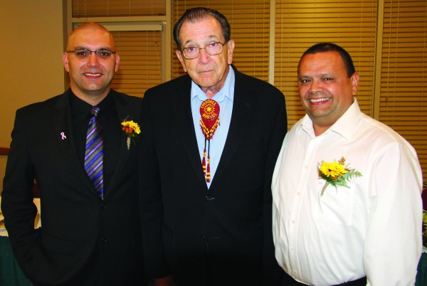 Skooter McCoy (left) was sworn in on Wednesday, Oct. 1 as the third general manager in the history of the Cherokee Boys Club during an event held at the Chestnut Tree Inn. He is shown with Ray Kinsland and Tommy Lambert, the first and second general managers respectively.