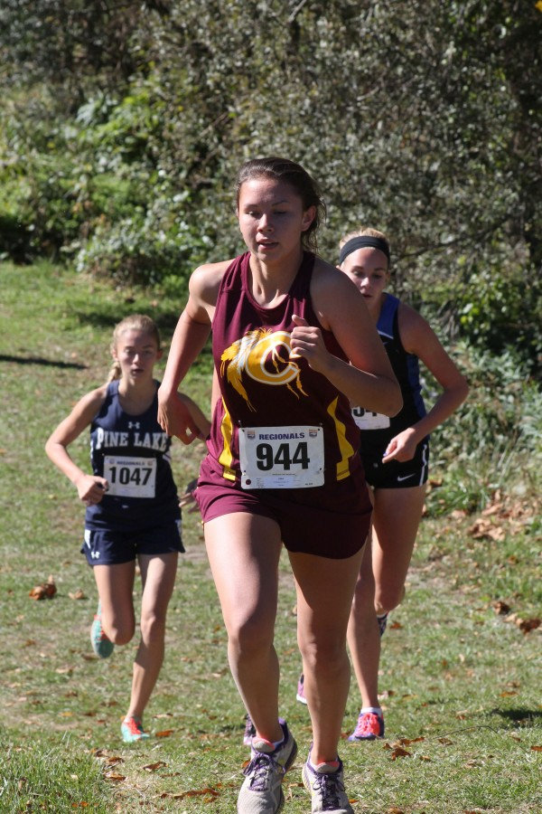 Kendall Toineeta, a senior member of the Cherokee High School girls cross country team, placed 14th at the 1A West Regional meet at Asheville Christian Academy on Saturday, Oct. 25 and qualified for the state meet.  (SCOTT MCKIE B.P./One Feather)