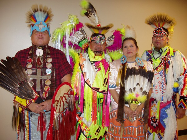 The Deer Clan Dancers, all EBCI tribal members, performed for Swain County elementary school students at the Swain County Center for the Arts on Tuesday, Oct. 21.  Shown (left-right) are Ricky Joe Taylor, Daniel Tramper, Teresa Reed and Scrappy Sherrill.  (Photo courtesy of Eugenia L. Johnson)