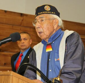 EBCI Beloved Man Jerry Wolfe, a U.S. Navy veteran who served in World War II, offers a Cherokee prayer at the start of Tuesday's event.
