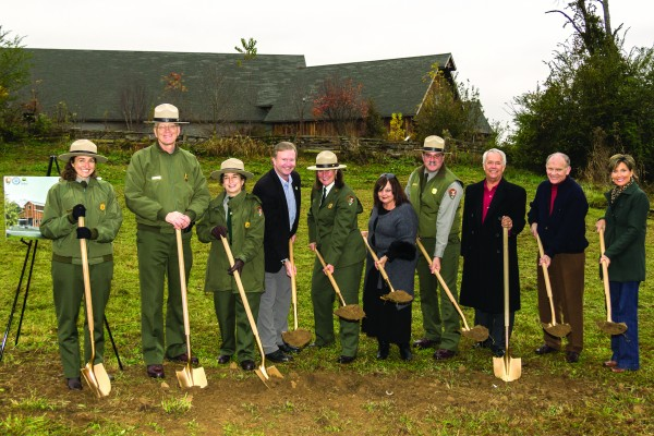 Ground was broken on the NPS Collections Preservation Center on Thursday, Nov. 13 in Townsend, Tenn.  Shown (right-left) are Jane Jolley, Senator Coker's Knoxville Office field director; Jim Hart, Friends of the Smokies president; Bob Patterson, GSMHC executive director; Alan Sumeriski, Park acting deputy superintendent; Vickie Flynn, Congressman Duncan's Maryville Office manager; Lizzie Watts, Andrew Johnson National Historic Site superintendent; Terry Maddox, GSMA executive director; Niki Nicholas, Big South Fork National River and Recreation Area and Obed Wild and Scenic River superintendent; Clayton Jordan, Park acting superintendent; and Sula Jacobs, Cumberland Gap National Historic Site superintendent.   (NPS photo)