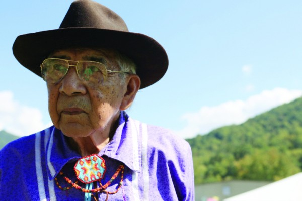 EBCI Beloved Man Jerry Wolfe shares his experiences as a Cherokee language speaker. (Photo by Danica Cullinan)