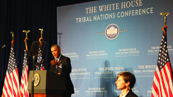 President Obama gives his speech during the White House Tribal Nations Conference.    You can read the full text of his speech at: https://www.whitehouse.gov/the-press-office/2014/12/03/remarks-president-tribal-nations-conference