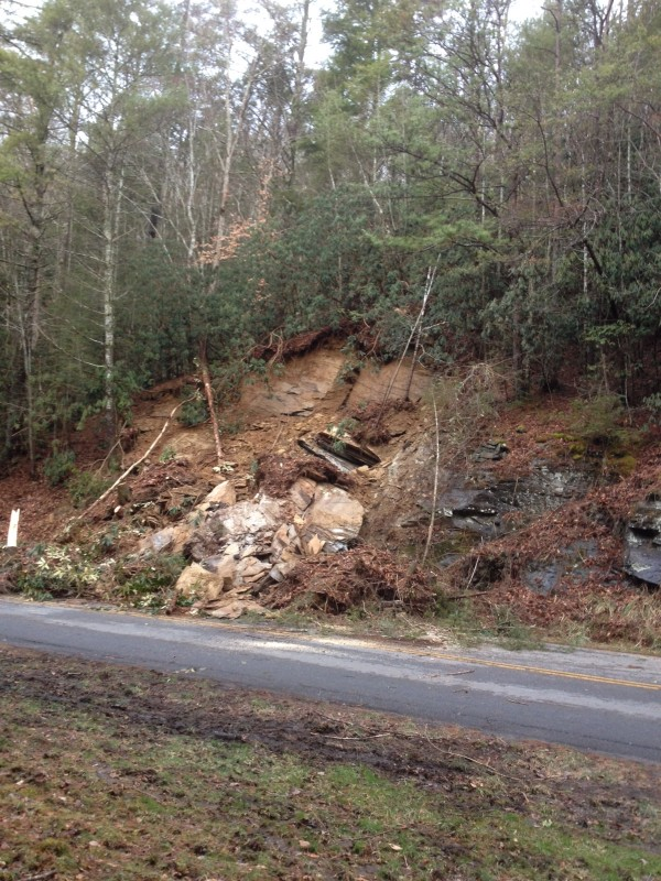 A rock slide on Wednesday, Jan. 14 has temporarily closed Laurel Creek Road in the Great Smoky Mountains National Park.  (NPS photo)